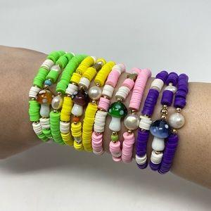 Mother of Pearl/Mushroom/Clay Handmade Bracelets